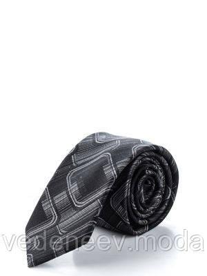 Черный узкий галстук в абстрактный рисунок, 100 % шелк высокого качества