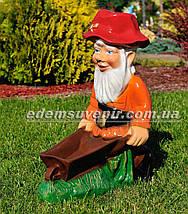 Садовая фигура Гном с тачкой, фото 2