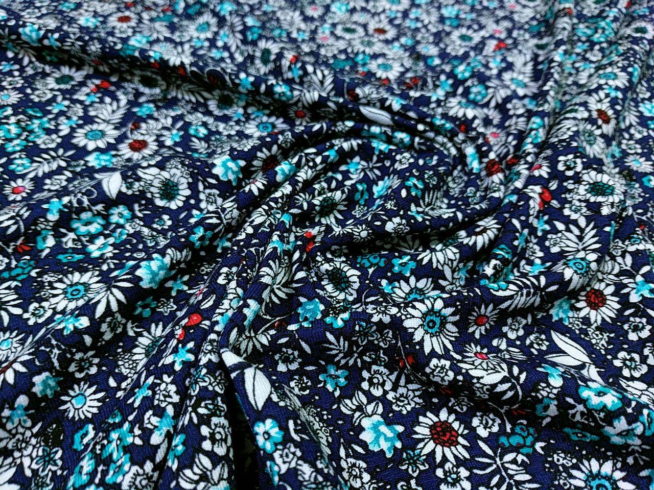 Трикотаж вискозный цветочная поляна, бирюзовый