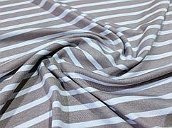 Ткань трикотаж вискозный полоска, бежевый