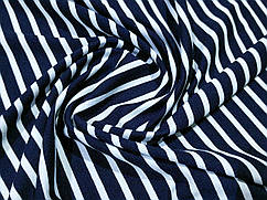 Ткань трикотаж вискозный полоска, темно-синий
