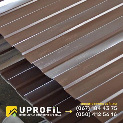 Профнастил для забора С8 коричневый RAL 8017 бюджетный вариант, цена на профнастил, фото 2