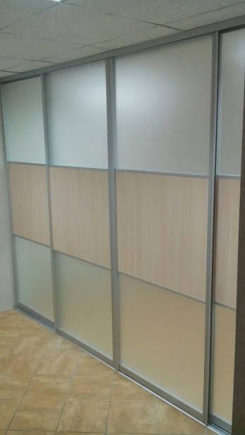 Комбинированная офисная перегородка. Матовое стекло и ДСП -1