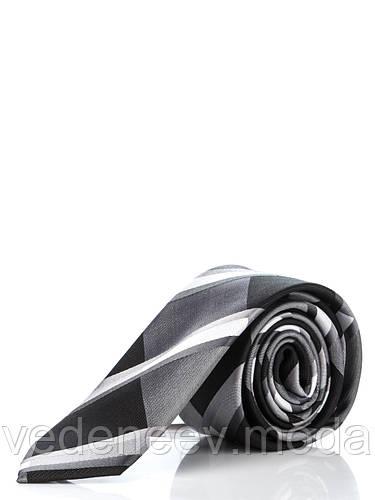 Узкий шелковый галстук в серо-черную клетку