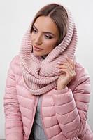 Зимовий рожевий в'язаний снуд/хомут/шарф Adelin