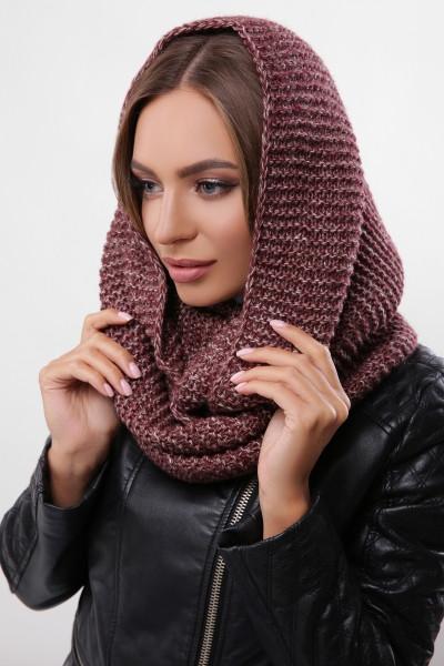 Зимовий бордово-коричневий в'язаний снуд/хомут/шарф Adelin