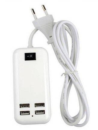 Адаптер питания с выходом на 4 USB разъема 5V-3А   Зарядное устройство для телефонов, фото 2