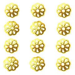 Обниматели Шапочки для Бусин Н-р 100 шт. Форма: Цветок, Цвет: Золото, Размер: 9х1,5 мм, Отверстие 1,5 мм.