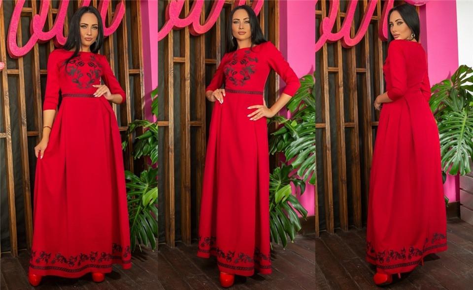Женское Платье, цвет - Бордо (141)697-1. (6 цветов) Ткань: Креп Размеры: 44, 46, 48, 50, 52, 54.