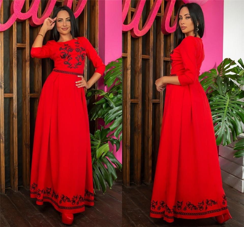 Женское Платье, цвет - Красный (141)697-5. (6 цветов) Ткань: Креп Размеры: 44, 46, 48, 50, 52, 54.