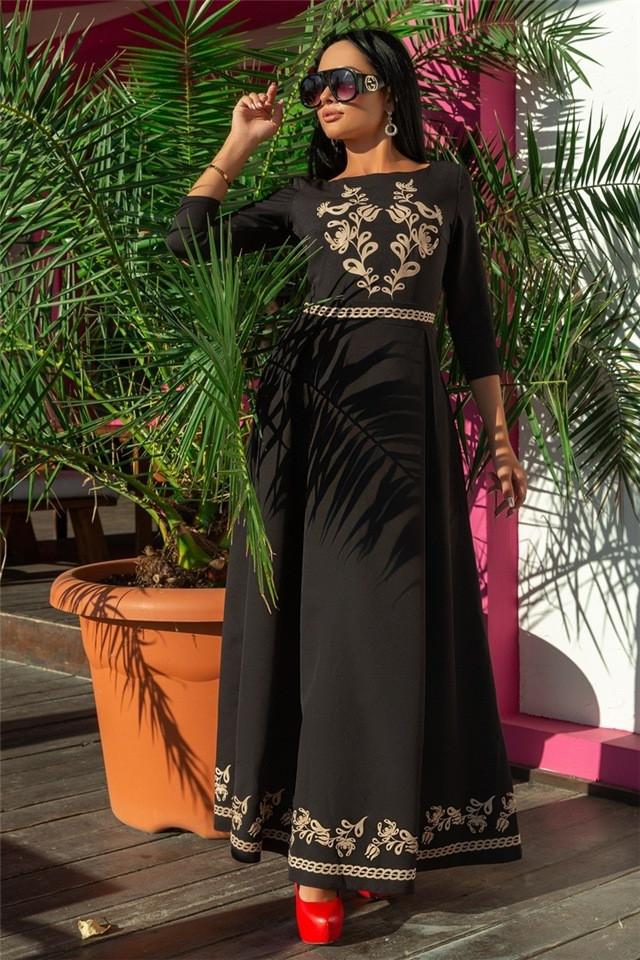 Женское Платье, цвет - Чёрный (141)697-6. (6 цветов) Ткань: Креп Размеры: 44, 46, 48, 50, 52, 54.