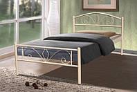 Металлическая односпальная кровать Релакс 90х200, цвет бежевый