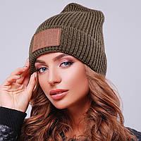 Модная вязаная шапка с отворотом