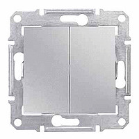 Выключатель двухклавишный проходной Алюминий Schneider Sedna (sdn0600160)