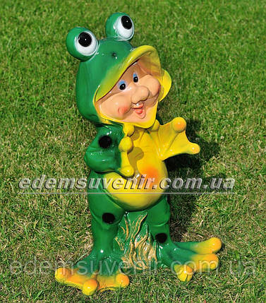 Садовая фигура Гном лягушонок большой, фото 2