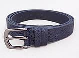 Женский кожаный узкий ремень синего цвета, фото 2