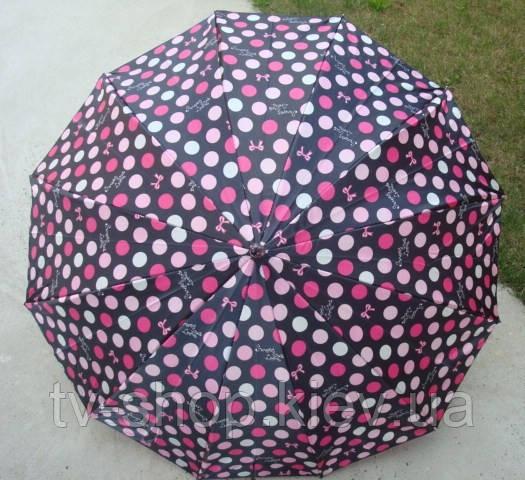 Зонт-трость  атласный Горохи