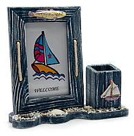 Фоторамка морская с подставкой для ручек