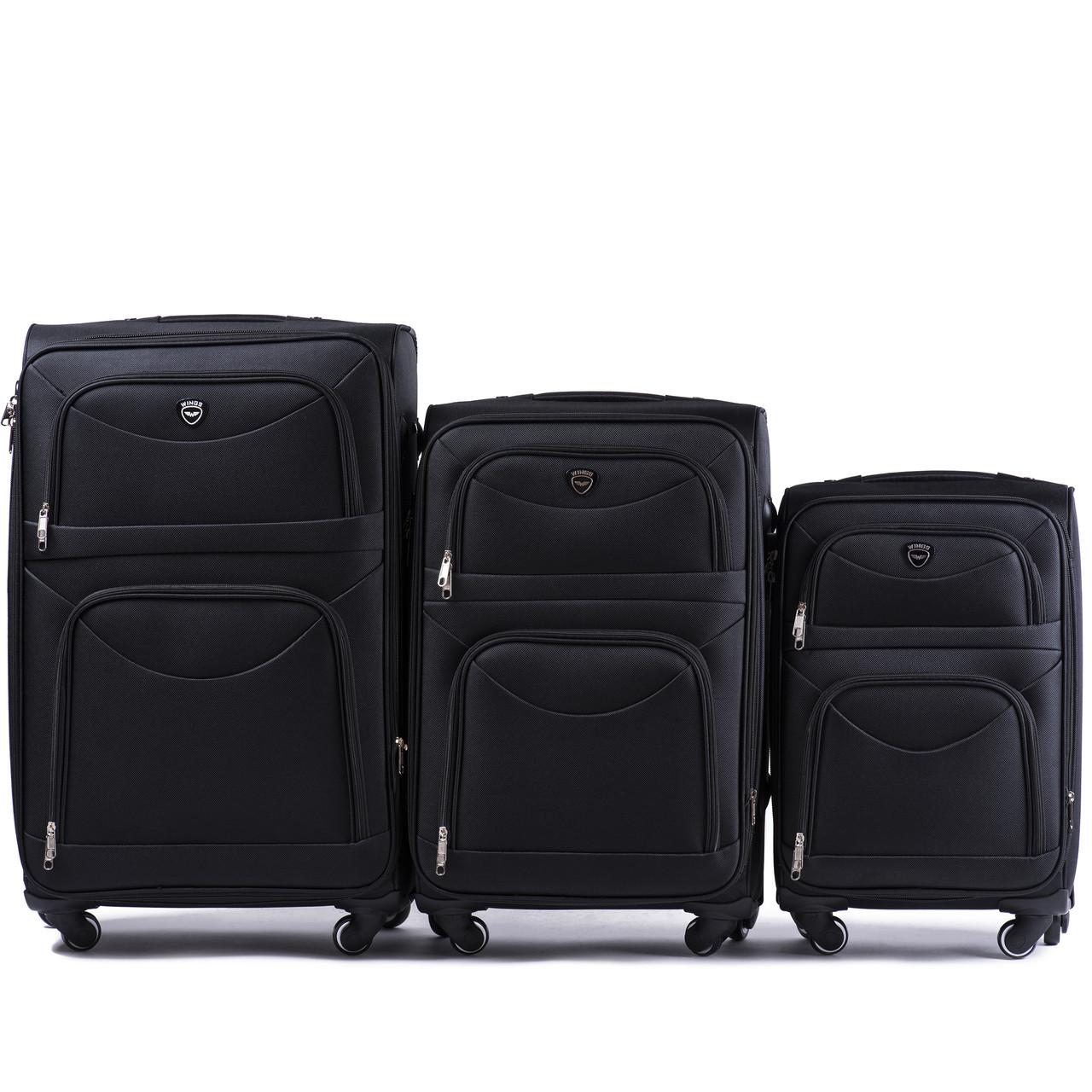 Комплект тканевых чемоданов Wings 6802-4 на 4 колесах