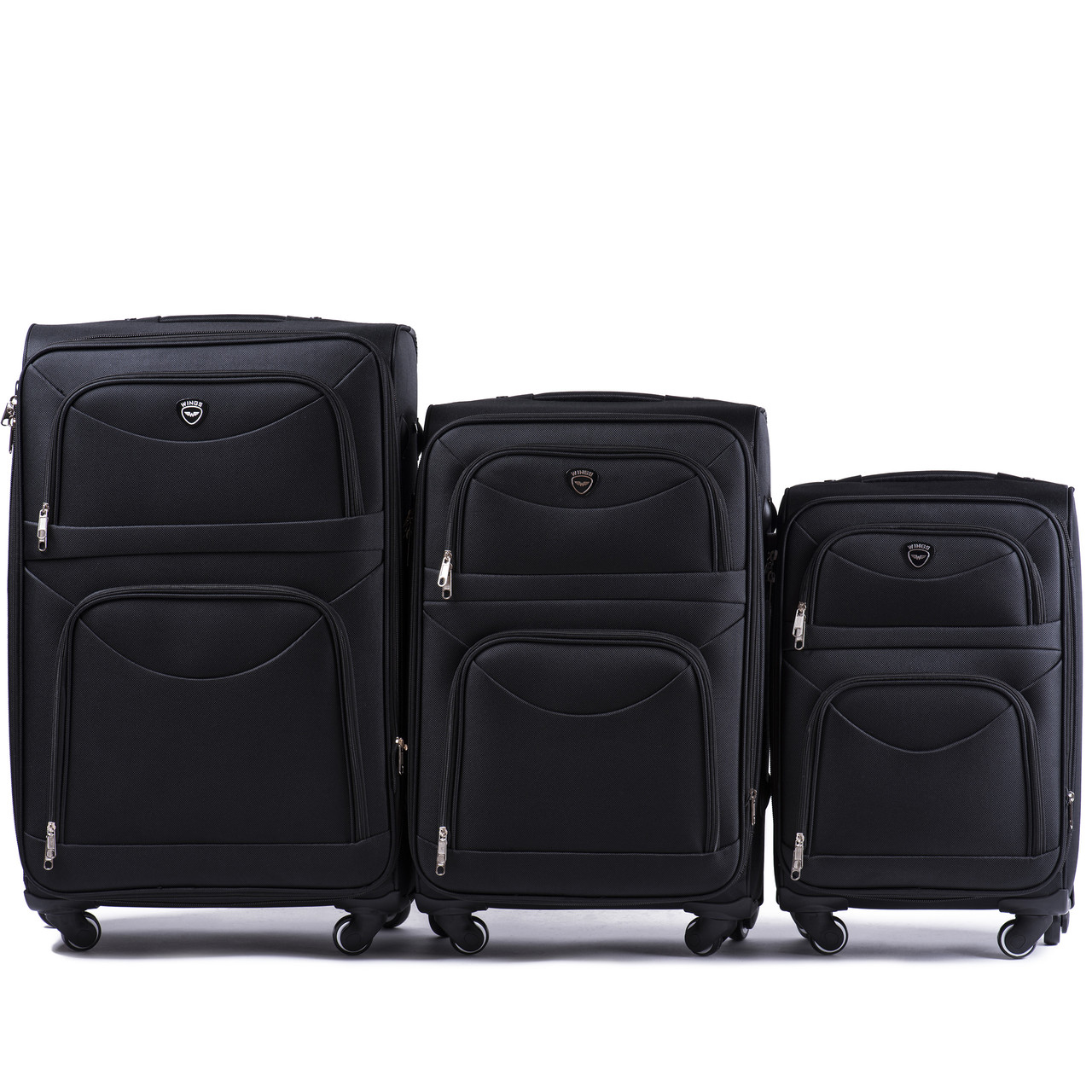 Комплект тканевых чемоданов Wings 6802-4 на 4 колесах, фото 1