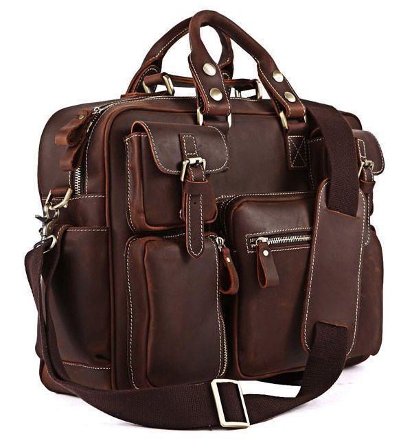 Сумка мужская Vintage 14075 кожаная коричневая