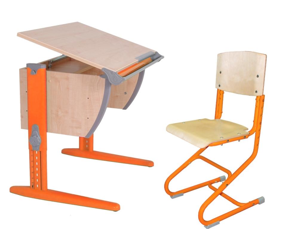 Детская универсальная парта Дэми  СУТ 14 (клён/оранжевый)+стульчик СУТ-01