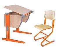 Детская универсальная парта Дэми  СУТ 14 (клён/оранжевый)