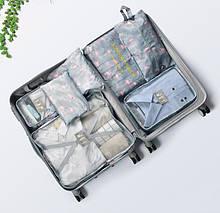 Набор дорожных сумок для путешествия из 7 штук Фламинго серо-голубой