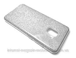 Чехол силиконовый Samsung A730/A8 Plus 2018 Glitter-2 серебро