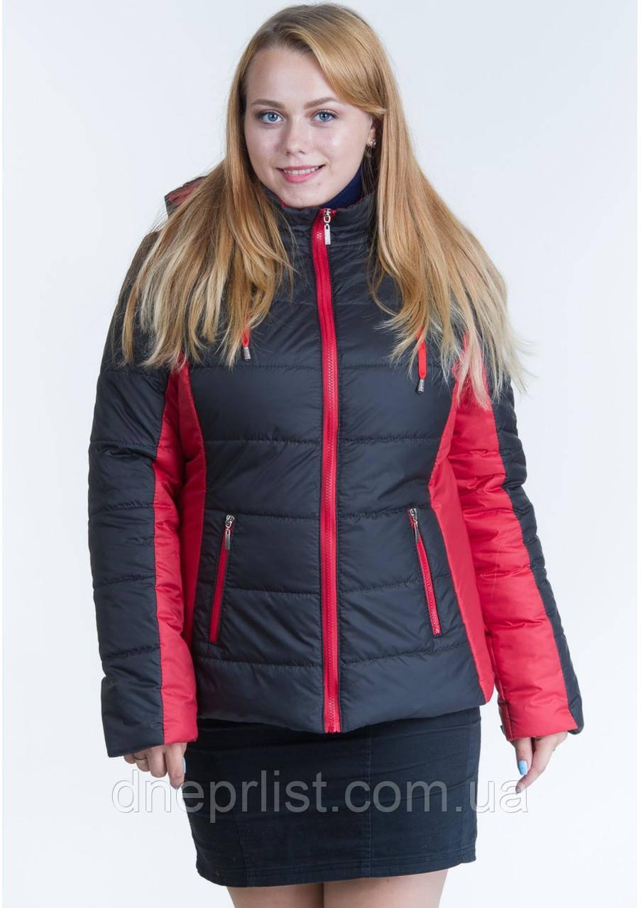 Куртка женская №15 (чёрный/красный)
