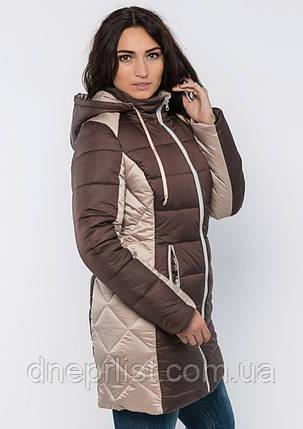 Куртка женская №15 длинная (шоколад/бежевый), фото 2