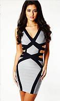 Оригинал 100% Herve Leger. Женское бандажное платье  в серых тонах с вырезами на талии и спине HL70400