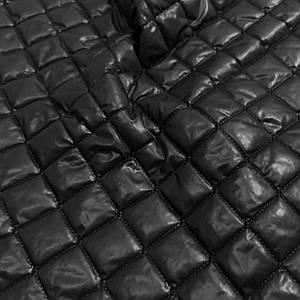 Плащевка стеганная на синтапоне черная ромб