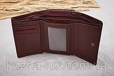 Кошелек женский кожаный классный бордово-коричневый, натуральная кожа, фото 2