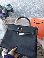 Жіноча сумка Гермес келлі 32 см чорна (репліка), фото 1