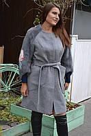 Кашемировое пальто с рукавами из натурального меха норки НОВИНКА