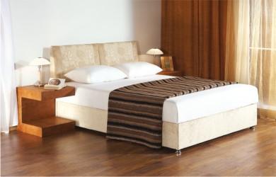 Ліжко двоспальне в спальню з мякою спинкою Рів'єра НСТ Альянс рів'єра, без тканини