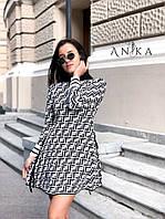 Женское стильное платье реплика Фенди Fendi ткань машинная вязка Китай белое