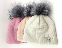 Оптом шапка детская с 52 по 58 размер ангора помпоном шапки детские головные уборы опт, фото 1