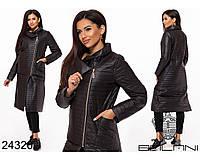 Черное стеганное пальто на синтепоне размеры S-L, фото 1