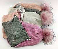 Оптом шапка детская с 52 по 58 размер ангора пампоном и хомутом шапки детские головные уборы опт, фото 1