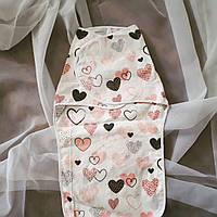 """Пеленка на липучке фланелевая """"розовые сердечки """""""