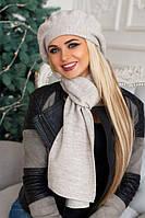 Женский комплект Осень-Зима «Беатта» (берет и шарф) Светлый кофе