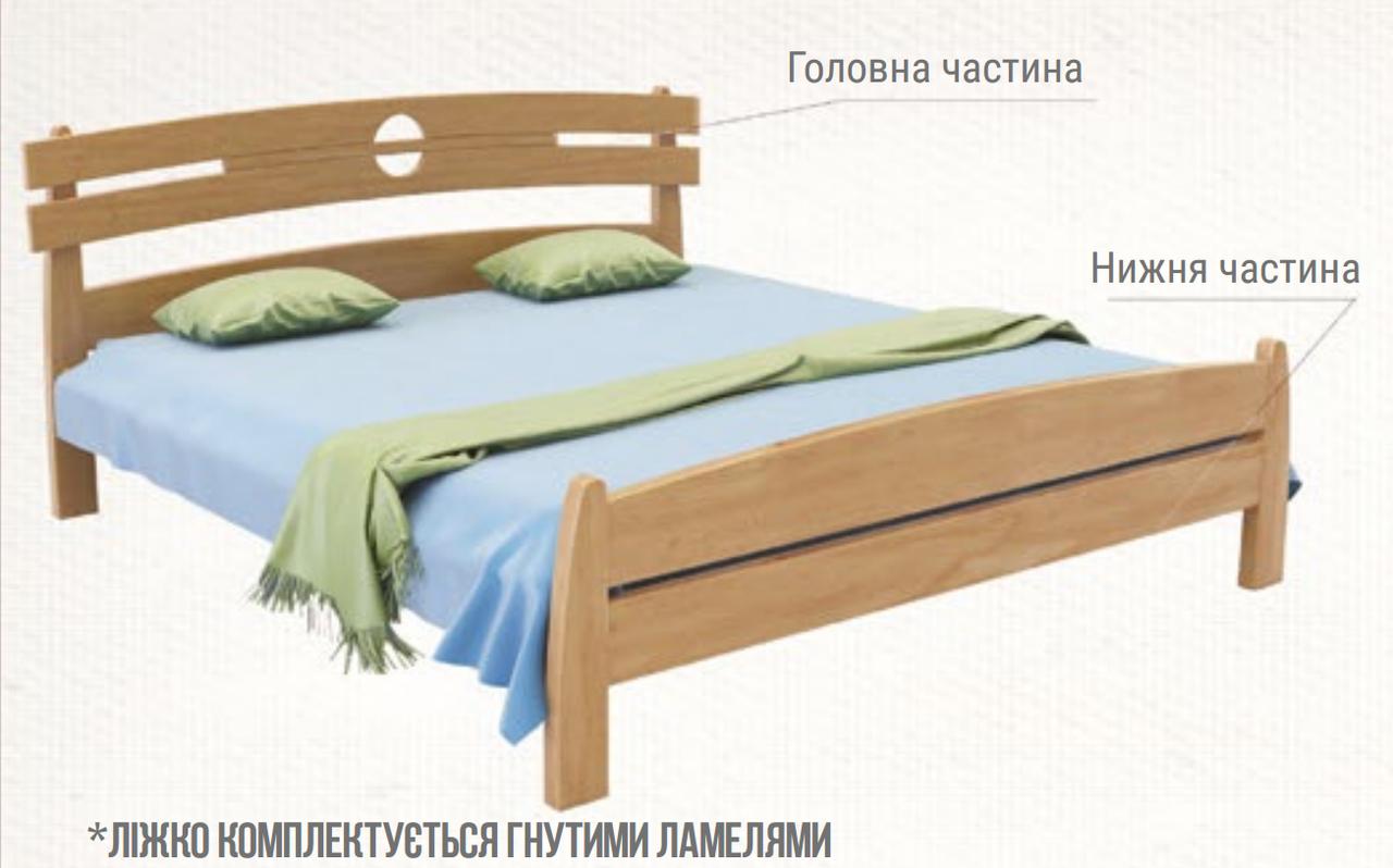 Ліжко двоспальне з натурального дерева в спальню Токіо (Масив Вільхи) 160*200 Sovinion 180*200(190)