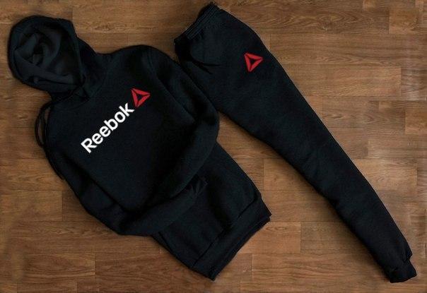 Спортивний костюм з капюшоном чоловічий Reebok Рібок чорний маленька напис (репліка)