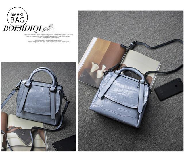 Женская кожаная сумка | голубая