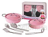 Набор посуды игровой Кухонный из нержавеющей стали, эмалированный, 8 ед., арт. CH92008
