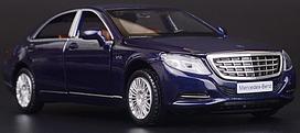 Коллекционная машинка Mercedes-benz S-сlass 222 синяя металлическая модель в масштабе 1:32