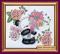 Набор для вышивки бисером ТМ АБрис Арт «Магнит» Мишка с букетом