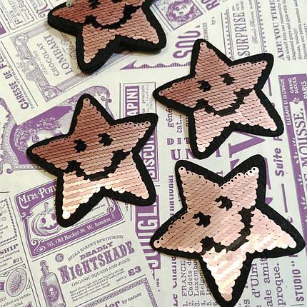 Термоаппликация с пайетками звезда пудра, фото 2